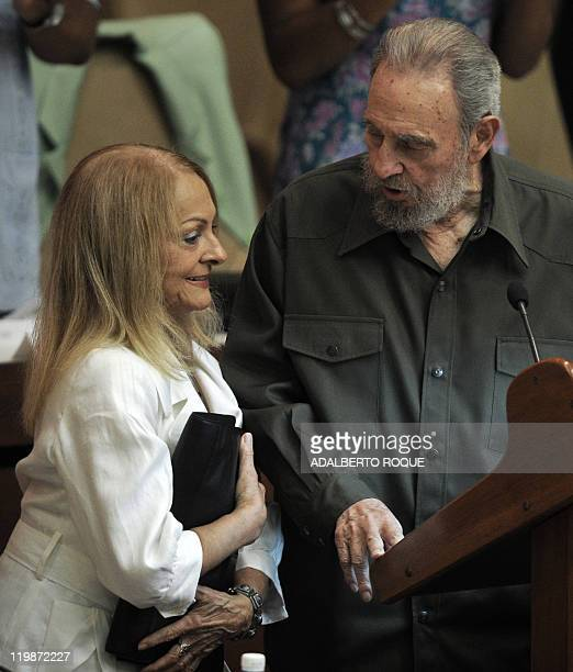 Former Cuban President Fidel Castro talks with his wife Dalia Soto del Valle during a special session of the Cuban Parliament on August 7 2010 in...
