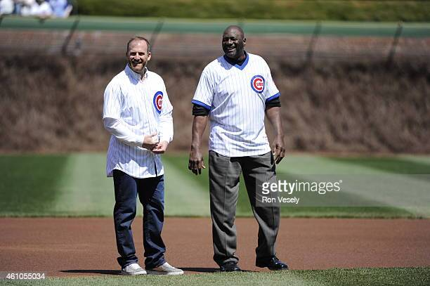 Former Cubs Ryan Dempster and Lee Smith look on during pregame ceremonies prior to the game between the Chicago Cubs and Arizona Diamondbacks at...