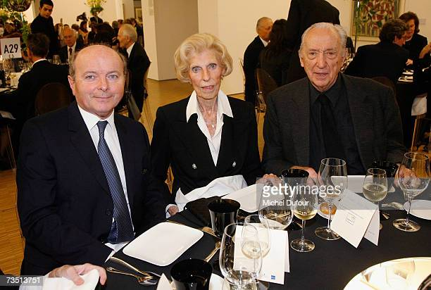 Former Culture minister Jacques Toubon Claude Pompidou and artist Pierre Soulage attend the Friends of Beaubourg Party to celebrate the 30th...