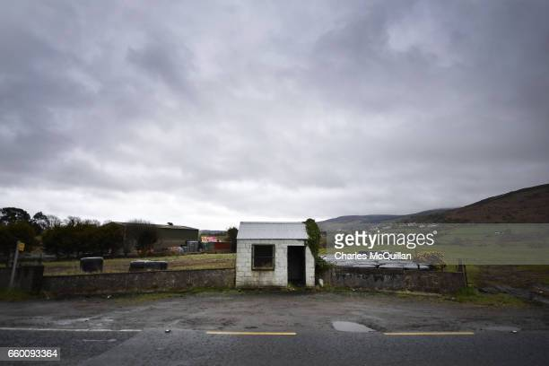 A former customs guard hut directly situated on the north south Irish border stands disused as Brexit is triggered on March 29 2017 in Newry Northern...