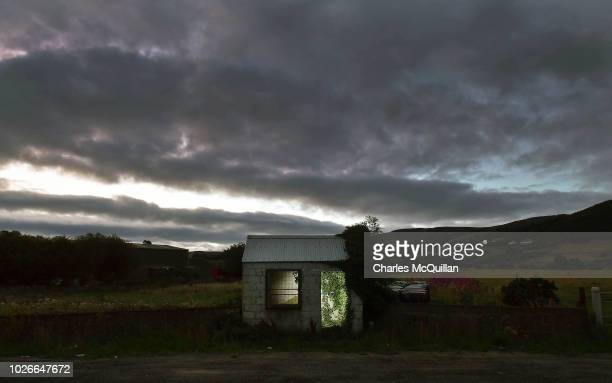 A former customs guard hut is illuminated on the Irish border on August 23 2018 in Ravensdale Ireland Following the United Kingdom European Union...