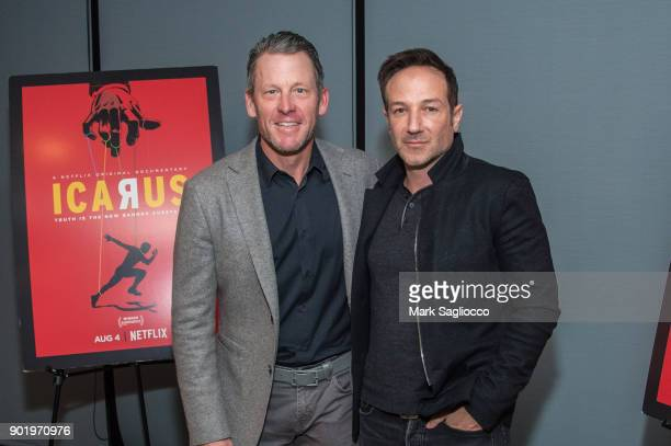 Former Cyclist Lance Armstrong and Director Bryan Fogel attend the Icarus New York Screening at 1 Hotel Brooklyn Bridge on January 6 2018 in the...