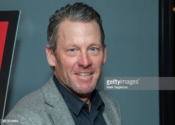 Former Cyclist Lance Armstrong attends the 'Icarus' New York Screening at 1 Hotel Brooklyn Bridge on January 6 2018 in the Brooklyn borough of New...