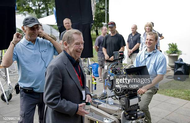 Former Czech President playwright essayist and film director Vaclav Havel stands by the camera on set during the shooting of his film ''Leaving'' on...