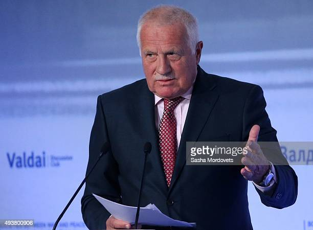 Former Czech President Vaclav Claus speaks during the Valdai International Discussion Club meeting on October 22 2015 in Sochi Russian President...