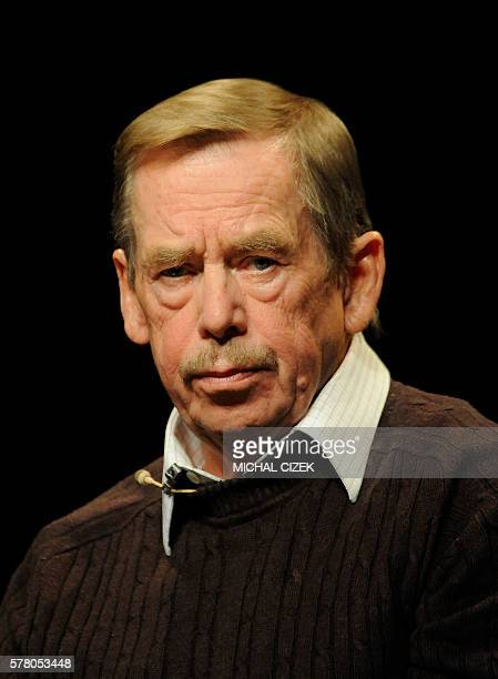 Former Czech President Vaclav Havel attends a press conference on October 15 in ''Na zabradli '' theatre, in Prague to mark 20 years since the Berlin...