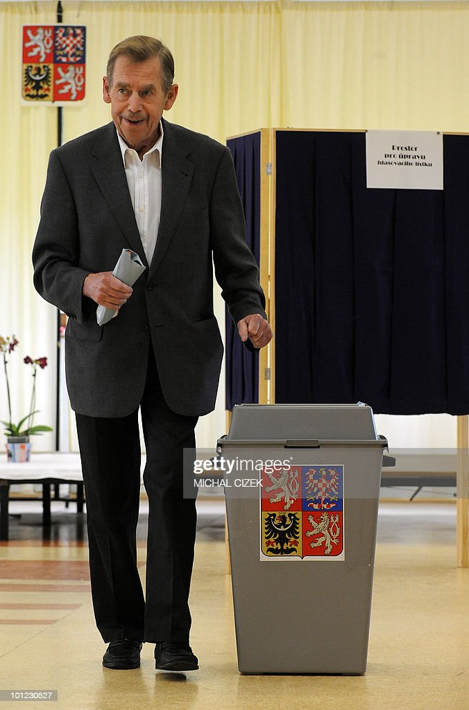 Former Czech President Vaclav Havel casts his ballot at the polling station on May 28, 2010 in Prague during the first day of the Czech elections. Czech voters headed to the polls to choose new leaders and bring an end to a lengthy political limbo triggered by the collapse of a centre-right coalition more than a year ago.