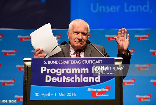 Former Czech President Vaclav Klaus speaks at the Alternative for Germany federal congress on April 30 2016 in Stuttgart Germany The AfD a relative...