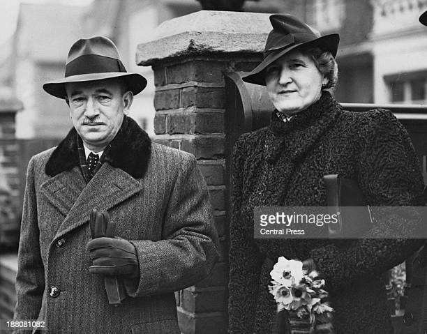 Former Czechoslovak President Edvard Benes and his wife Hana Benesova leaving their home in Putney London at the start of a trip to America where...