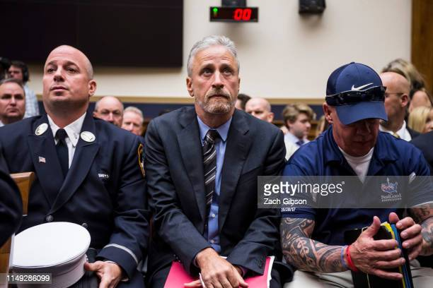 Former Daily Show Host Jon Stewart arrives before testifying during a House Judiciary Committee hearing on reauthorization of the September 11th...