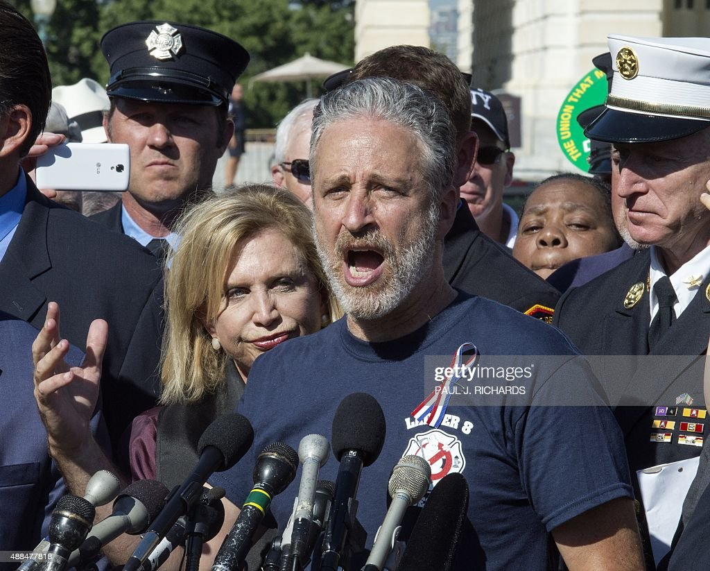 Former 'Daily Show' host Jon Stewart delivers remarks outside the US Capitol September 16, 2015, in Washington, DC. Stewart spoke on behalf of many 9/11 victims suffering from cancer and other serious health problems and urging Congress for an extension of the James Zadroga 9/11 Health and Compensation Act -- set to expire next month, putting in jeopardy funding for the health programs used by more than 33,000 responders, as well as the benefits that help support their families. AFP Photo/PAUL