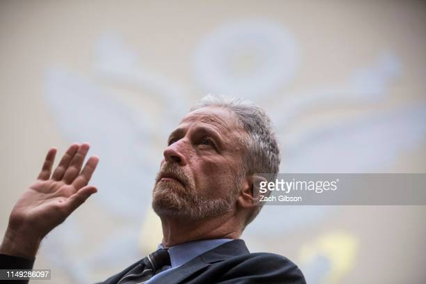 Former Daily Show Host Jon Stewart is sworn in before testifying during a House Judiciary Committee hearing on reauthorization of the September 11th...