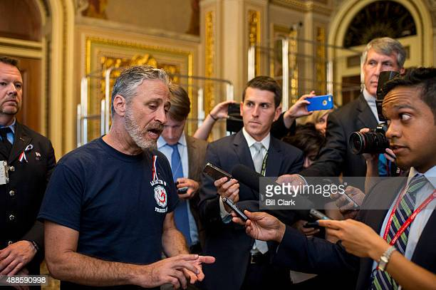 Former Daily Show host Jon Stewart stops to speak with reporters as he arrives to visit the Senate Democrats' policy lunch on Wednesday Sept 16 2015...