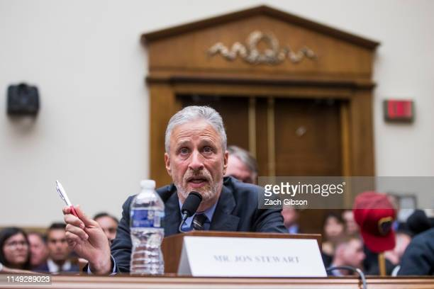 Former Daily Show Host Jon Stewart testifies during a House Judiciary Committee hearing on reauthorization of the September 11th Victim Compensation...