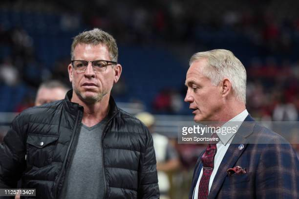Former Dallas Cowboy quarterback Troy Aikman and San Antonio Commanders general manager Daryl Johnston speak before the AAF game between the Orlando...