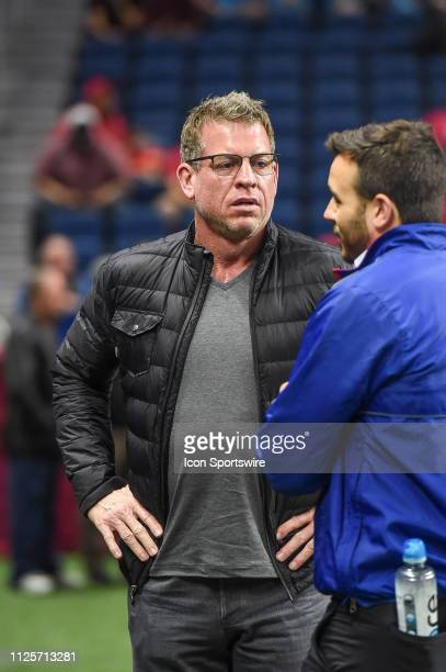 Former Dallas Cowboy quarterback Troy Aikman stands on the sideline before the AAF game between the Orlando Apollos and the San Antonio Commanders on...