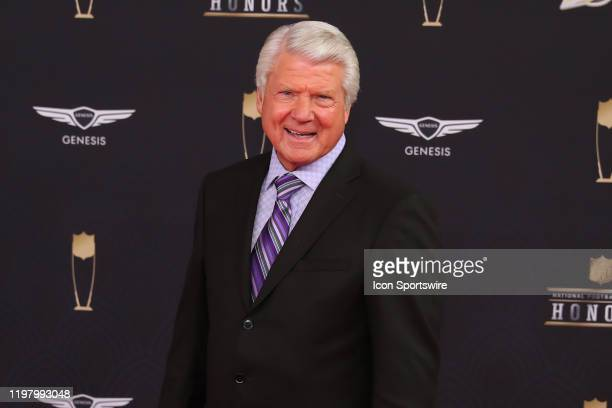 Former Dallas Cowboys head coach and NFL Hall of Famer Jimmie Johnson poses on the Red Carpet poses prior to the NFL Honors on February 1 2020 at the...