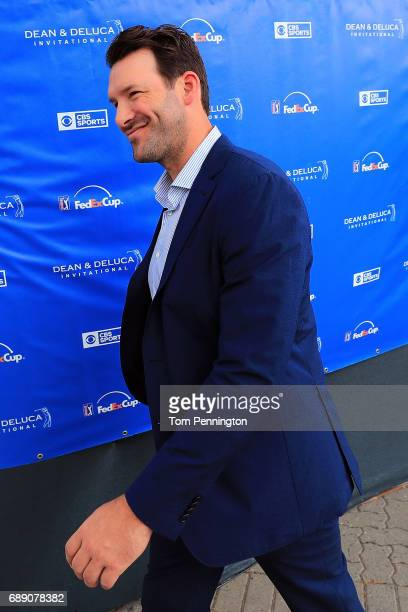 Former Dallas Cowboys quarterback and on-air talent Tony Romo exits the broadcast booth during Round three of the DEAN & DELUCA Invitational at...