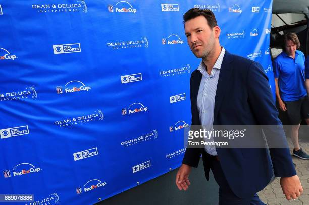 Former Dallas Cowboys quarterback and onair talent Tony Romo exits the broadcast booth during Round three of the DEAN DELUCA Invitational at Colonial...