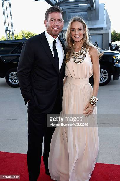 Former Dallas Cowboys quarterback Troy Aikman and Model Tracy Ripsin attend the 50th Academy of Country Music Awards at ATT Stadium on April 19 2015...