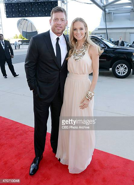 Former Dallas Cowboys quarterback Troy Aikman and Tracy Ripsin on the red carpet at the 50TH ACADEMY OF COUNTRY MUSIC AWARDS from ATT Stadium in...
