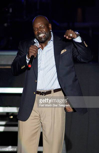 Former Dallas Cowboys running back and NFL Hall of Famer Emmitt Smith fires up the crowd during the Super Bowl XLV Countdown Live From Cowboys...