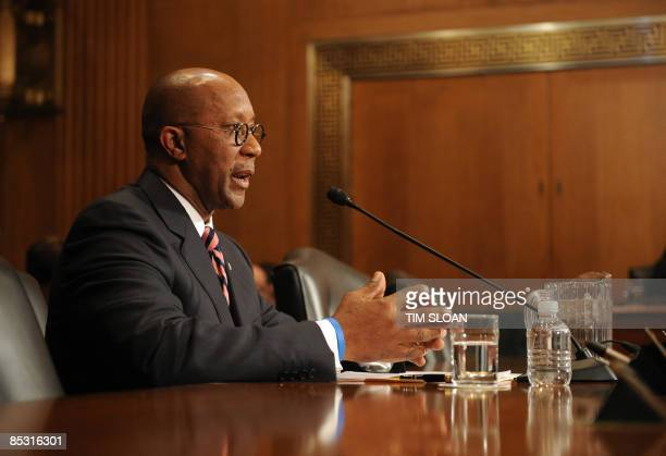 Former Dallas Mayor Ron Kirk testifies before the Senate Finance Committee on his nomination to be US Trade Representative on March 9 2009 on Capitol...