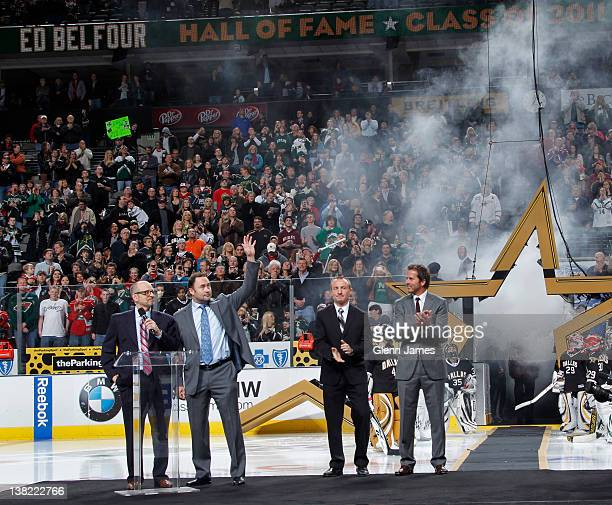 Former Dallas Star and Hockey Hall of Fame Class of 2011 inductee Ed Belfour is honored during a pregame ceremony before a game against the Minnesota...