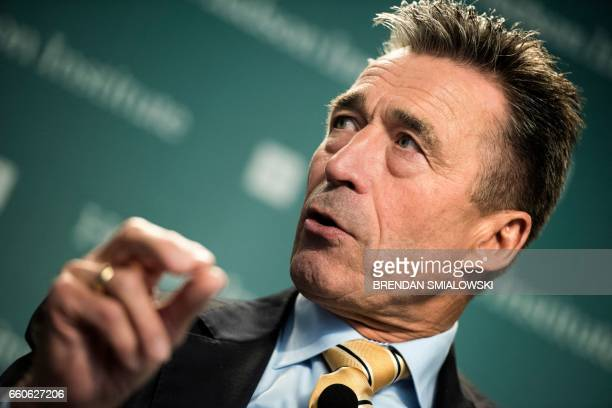 Former Danish Prime Minister and former Secretary General of NATO Anders Fogh Rasmussen speaks during a forum about sanctions on Russia at the Hudson...