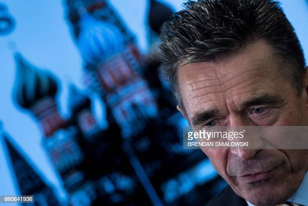 Former Danish Prime Minister and former Secretary General of NATO Anders Fogh Rasmussen speaks to reporters after a forum about sanctions on Russia...