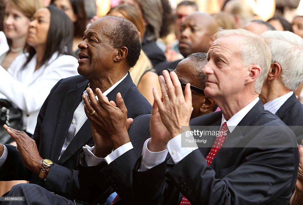 Former DC Mayor Marion Barry (L) attends the Trump International Hotel Washington, D.C Groundbreaking Ceremony at Old Post Office on July 23, 2014 in Washington, DC.