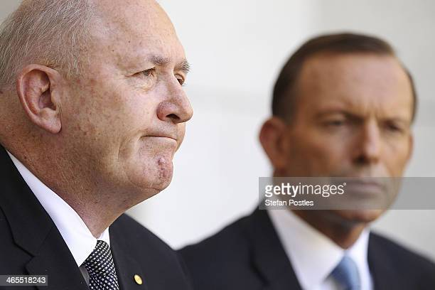 Former Defence Force chief General Peter Cosgrove with Prime Minister Tony Abbott during a press conference in which he was announced as the next...
