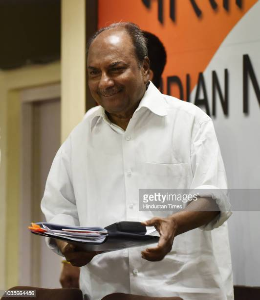 Former Defence Minister A K Antony talks to media personnel regarding Rafael Deal at AICC Headquarter on September 18 2018 in New Delhi India