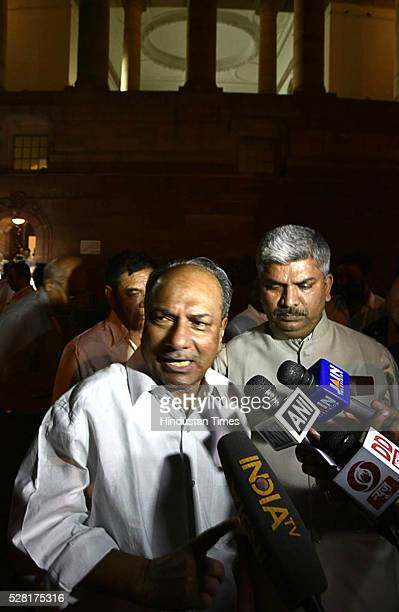 Former Defence Minister and Congress leader AK Antony seen leaving the Parliament Session on May 4 2016 in New Delhi India Congress walked out of the...