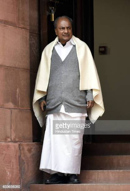 Former Defence Minister and Member of Parliament Rajya Sabha AK Antony after attending the Parliament Budget Session on February 2 2017 in New Delhi...