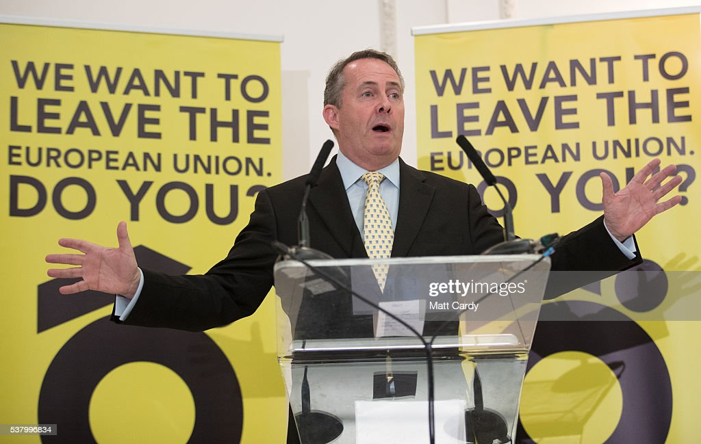 Nigel Farage And Liam Fox Speak At A Grassroots Out! Rally : News Photo