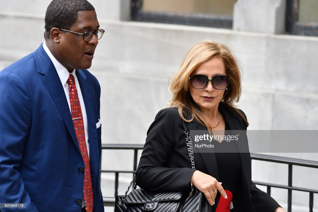 Former defense attorney Angela Agrusa, with spokesperson Andrew Wyatt arrive for a pre-trial hearing in the sexual assault trial of US actor Bill Cosby, at Montgomery County Courthouse, in Norristown, on August 22, 2017.