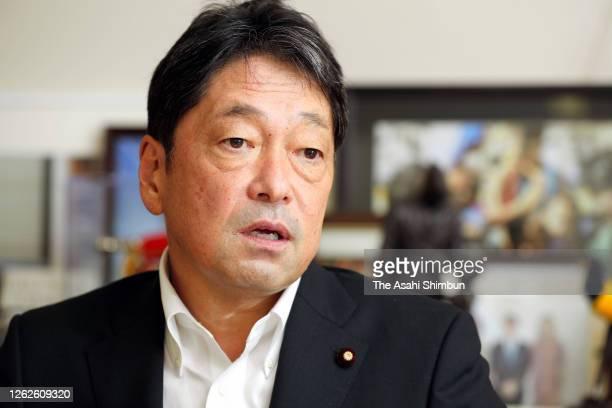 Former Defense Minister Itsunori Onodera speaks during the Asahi Shimbun interview on July 22 2020 in Tokyo Japan