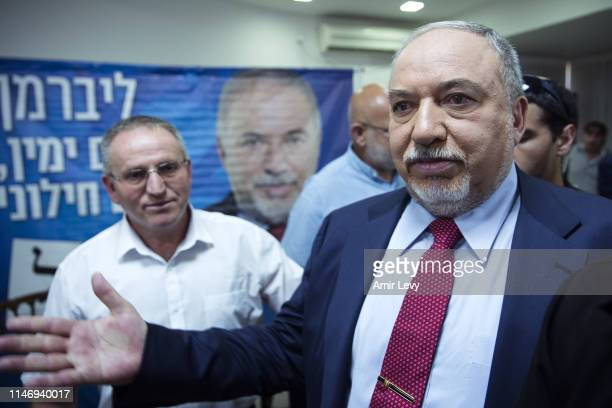 Former Defense minister of Israel and 'Yisrael Beiteino' party leader Avigdor Lieberman after speaking at a press conference on May 30, 2019 in Tel...