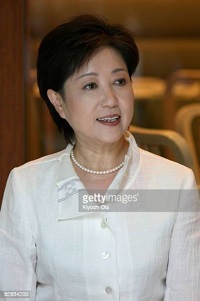 Former Defense Minister Yuriko Koike a candidate for the ruling Liberal Democratic Party presidential election attends a luncheon ahead of the...