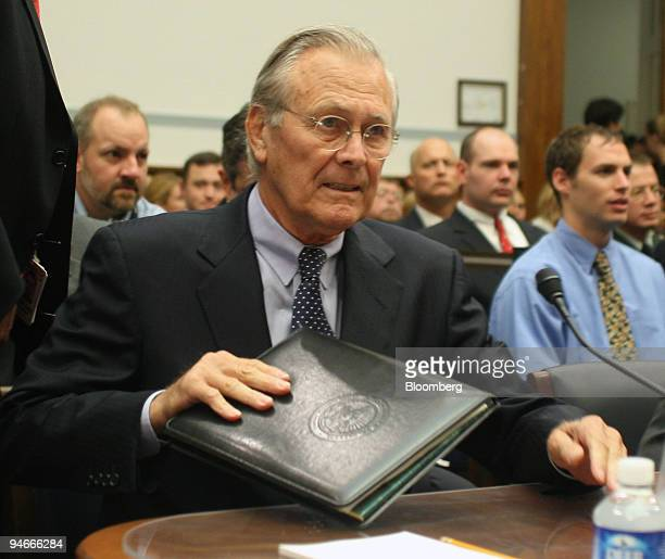 Former Defense Secretary Donald Rumsfeld testifies about the friendly fire death of Corporal Patrick Tillman before the House Oversight and...