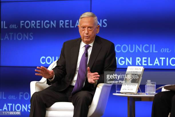 Former Defense Secretary General James Mattis speaks with Richard Haass at The Council on Foreign Relations on September 03, 2019 in New York City....