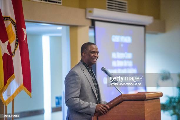 Former defensive back for the Atlanta Falcons football team Bobby Butler holding a speech to Soldiers at National Day of Prayer Observance Fort...