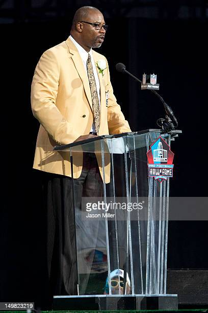Former defensive end Chris Doleman during the Class of 2012 Pro Football Hall of Fame Enshrinement Ceremony at Fawcett Stadium on August 4 2012 in...