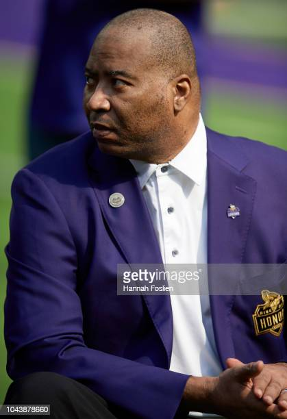 Former defensive end Chris Doleman of the Minnesota Vikings looks on at halftime during the game between the Minnesota Vikings and the Buffalo Bills...