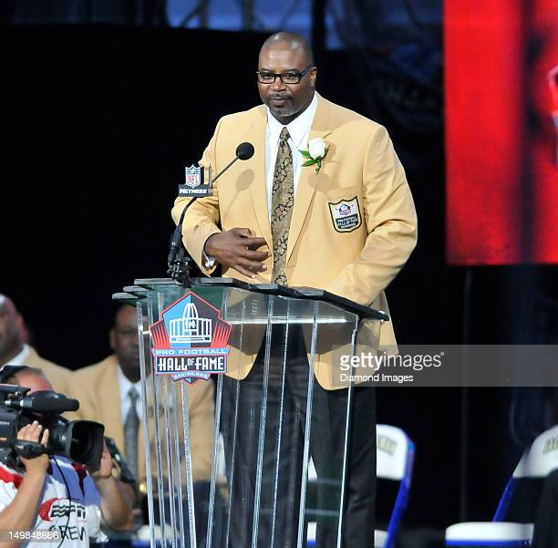 Former defensive linemen Chris Doleman speaks at the podium during his Pro Football Hall of Fame induction speech on August 4 2012 at Fawcett Stadium...
