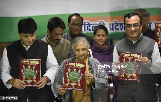 Former Delhi CM Sheila Dikshit and DPCC president Ajay Maken briefs media personnel in a press conference on February 14 2018 in New Delhi India