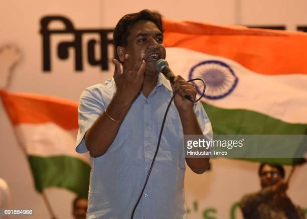 Former Delhi Minister Kapil Mishra during the launch of programme 'India Against Corruption-2' against Arvind Kejriwal's government at Malvankar...