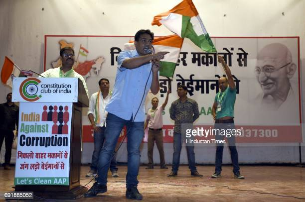 Former Delhi Minister Kapil Mishra during the launch of programme 'India Against Corruption2' against Arvind Kejriwal's government at Malvankar Hall...
