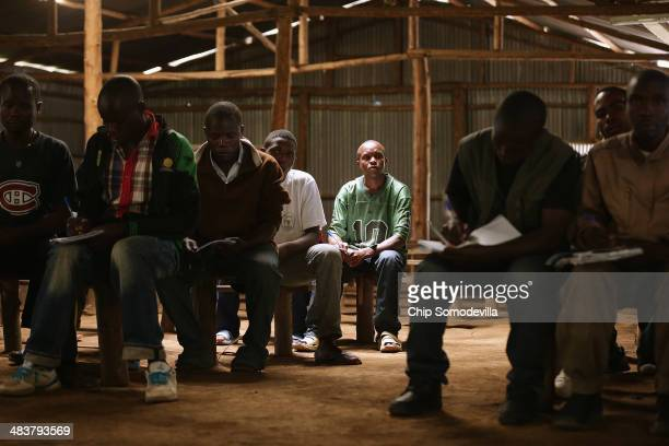 Former Democratic Forces for the Liberation of Rwanda combatants attend a class on history politics and the 1994 genocide at the Mutobo...